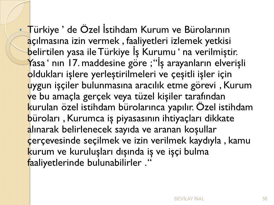 Türkiye ' de Özel İ stihdam Kurum ve Bürolarının açılmasına izin vermek, faaliyetleri izlemek yetkisi belirtilen yasa ile Türkiye İ ş Kurumu ' na veri