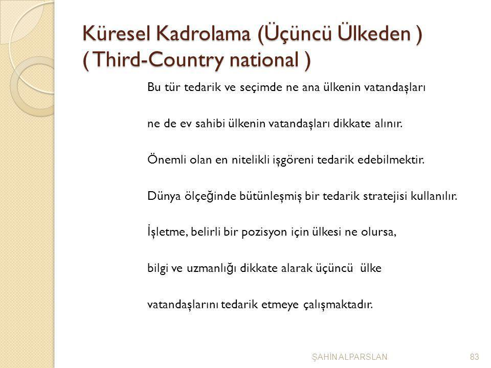 Küresel Kadrolama (Üçüncü Ülkeden ) ( Third-Country national ) Bu tür tedarik ve seçimde ne ana ülkenin vatandaşları ne de ev sahibi ülkenin vatandaşl