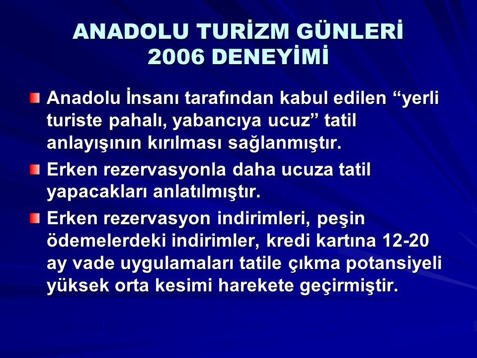 """ANADOLU TURİZM GÜNLERİ 2006 DENEYİMİ Anadolu İnsanı tarafından kabul edilen """"yerli turiste pahalı, yabancıya ucuz"""" tatil anlayışının kırılması sağlanm"""