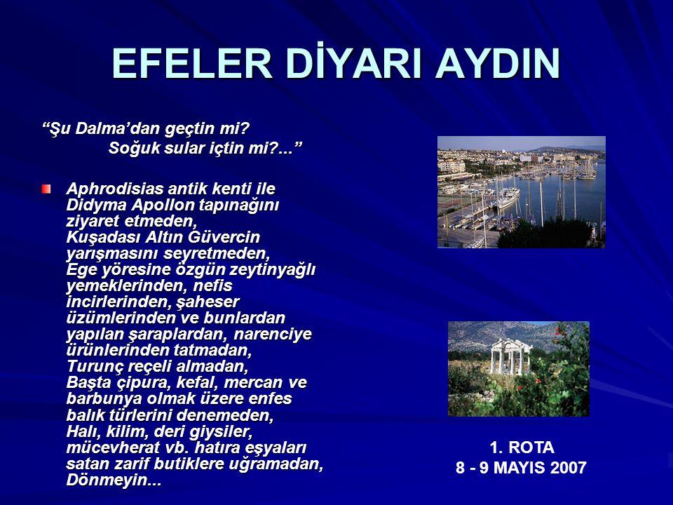 """EFELER DİYARI AYDIN """"Şu Dalma'dan geçtin mi? Soğuk sular içtin mi?..."""" Aphrodisias antik kenti ile Didyma Apollon tapınağını ziyaret etmeden, Kuşadası"""