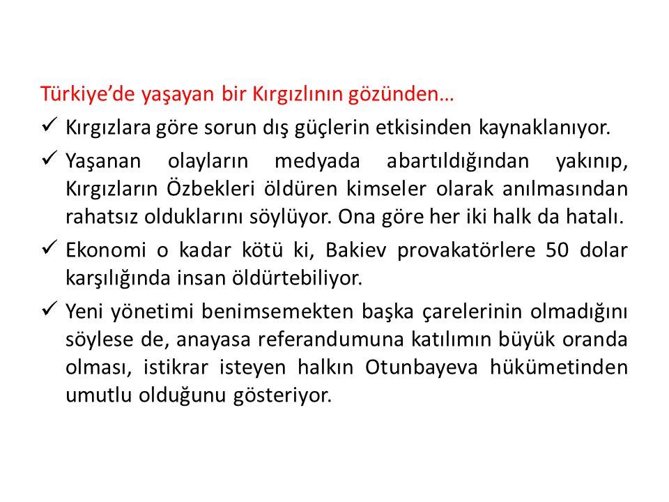 Türkiye'de yaşayan bir Kırgızlının gözünden… Kırgızlara göre sorun dış güçlerin etkisinden kaynaklanıyor. Yaşanan olayların medyada abartıldığından ya