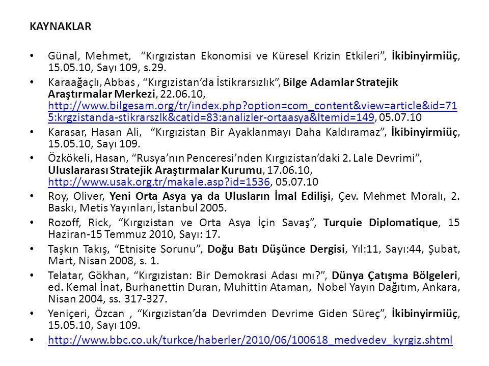 """KAYNAKLAR Günal, Mehmet, """"Kırgızistan Ekonomisi ve Küresel Krizin Etkileri"""", İkibinyirmiüç, 15.05.10, Sayı 109, s.29. Karaağaçlı, Abbas, """"Kırgızistan'"""
