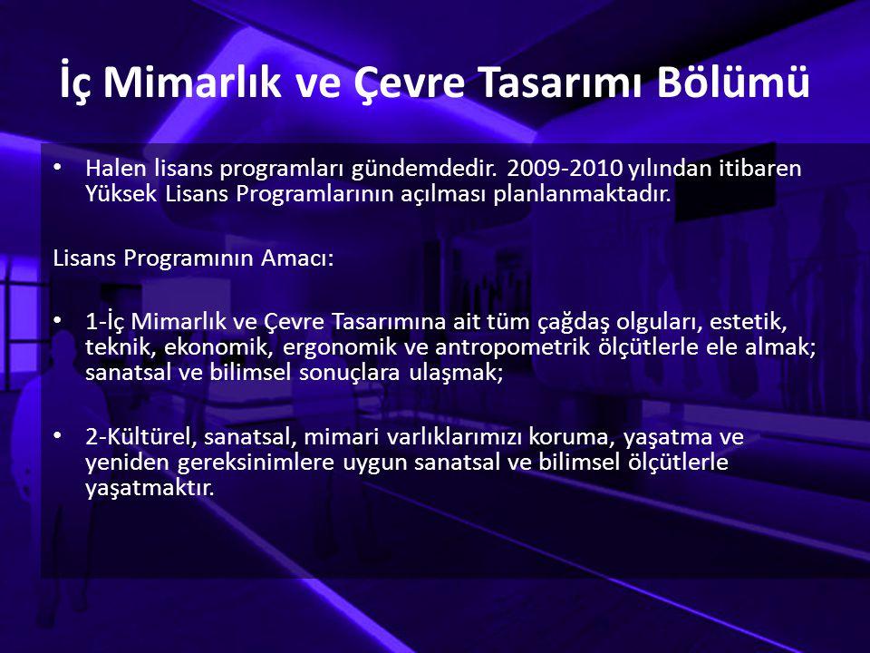 İç Mimarlık ve Çevre Tasarımı Bölümü Halen lisans programları gündemdedir. 2009-2010 yılından itibaren Yüksek Lisans Programlarının açılması planlanma