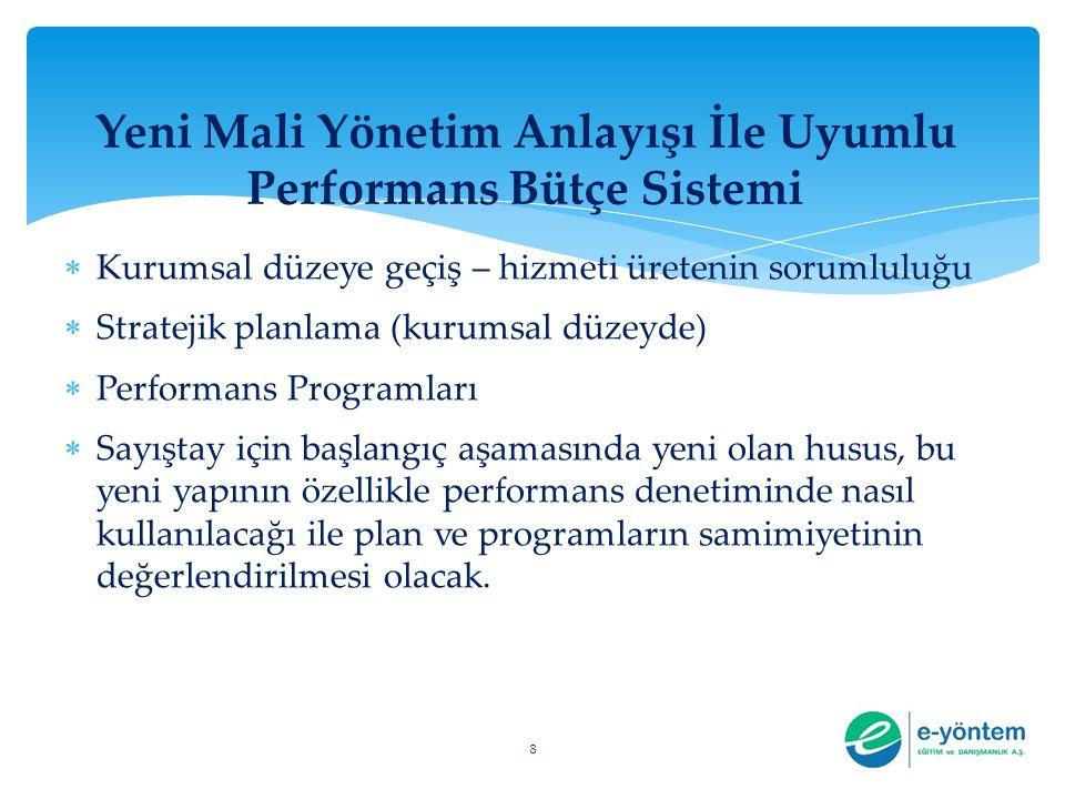 Yeni Mali Yönetim Anlayışı İle Uyumlu Performans Bütçe Sistemi  Kurumsal düzeye geçiş – hizmeti üretenin sorumluluğu  Stratejik planlama (kurumsal d