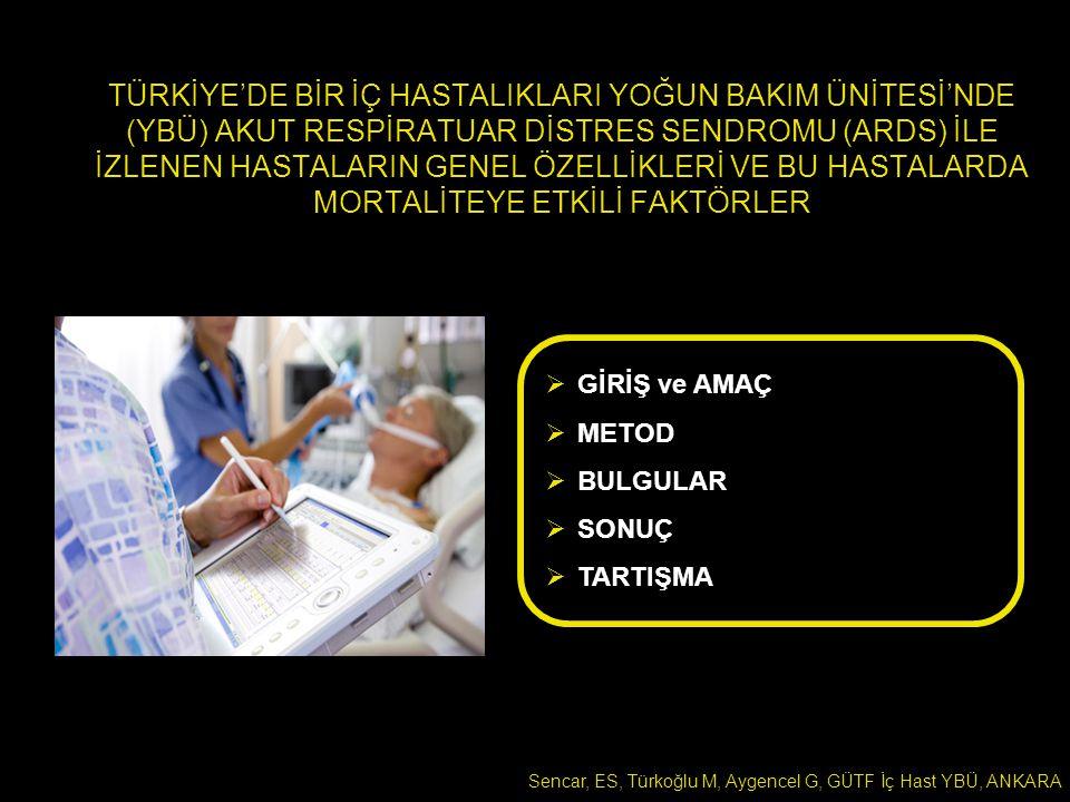 TÜRKİYE'DE BİR İÇ HASTALIKLARI YBÜ'DE ARDS İLE İZLENEN HASTALARIN GENEL ÖZELLİKLERİ VE BU HASTALARDA MORTALİTEYE ETKİLİ FAKTÖRLER 16 Nisan 2007-19 Ağustos 2010 İç Hastalıkları YBÜ'ye Yatan Hastalar ARDS ile İzlenen Hastalar ÖLÜMTABURCULUK YATIŞ VERİLERİ ARDS VERİLERİ YBÜ YATIŞ ve SAĞKALIM VERİLERİ Sayısal veriler medyan [çeyrekler arası aralık] Kategorik veriler % ile belirtilmiştir Ölen hastalar ile yaşayan hastalar karşılaştırılmıştır.