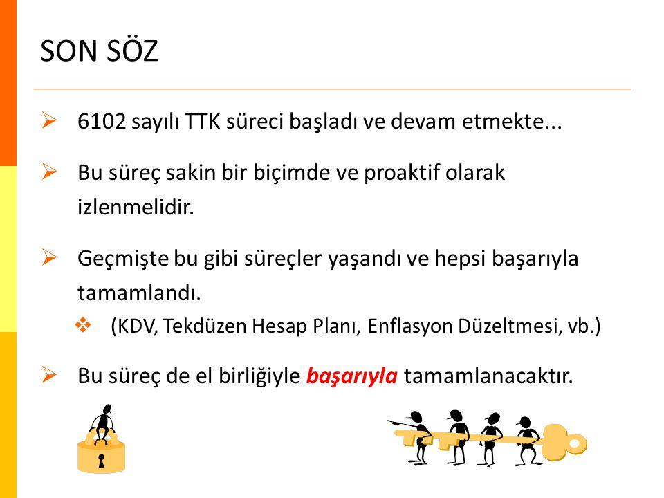 SON SÖZ  6102 sayılı TTK süreci başladı ve devam etmekte...