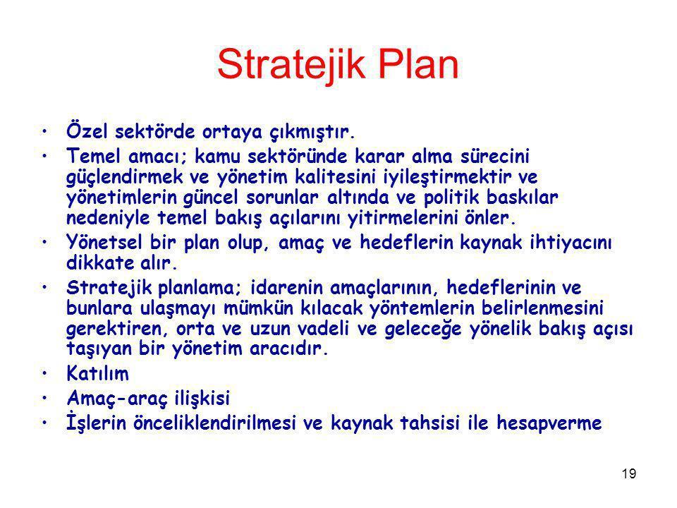 19 Stratejik Plan Özel sektörde ortaya çıkmıştır. Temel amacı; kamu sektöründe karar alma sürecini güçlendirmek ve yönetim kalitesini iyileştirmektir