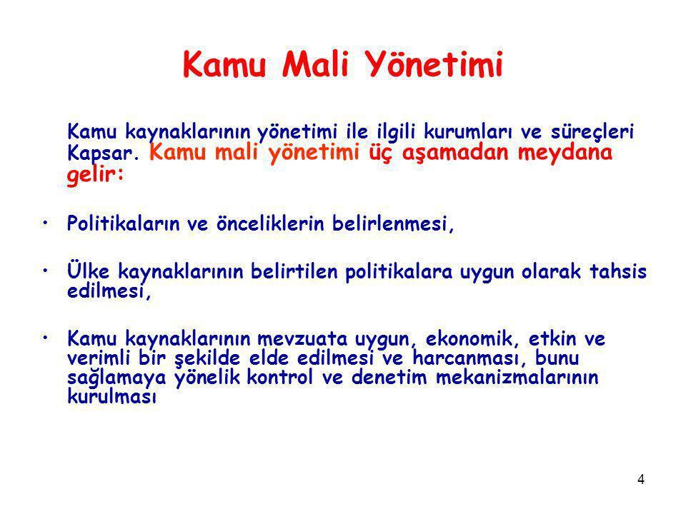 4 Kamu Mali Yönetimi Kamu kaynaklarının yönetimi ile ilgili kurumları ve süreçleri Kapsar.