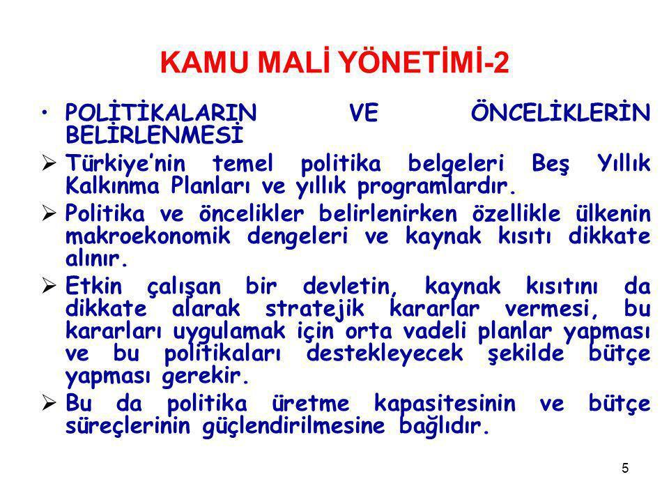 5 KAMU MALİ YÖNETİMİ-2 POLİTİKALARIN VE ÖNCELİKLERİN BELİRLENMESİ  Türkiye'nin temel politika belgeleri Beş Yıllık Kalkınma Planları ve yıllık progra