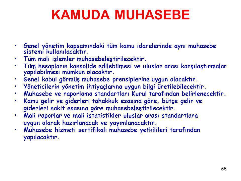 55 KAMUDA MUHASEBE Genel yönetim kapsamındaki tüm kamu idarelerinde aynı muhasebe sistemi kullanılacaktır. Tüm mali işlemler muhasebeleştirilecektir.
