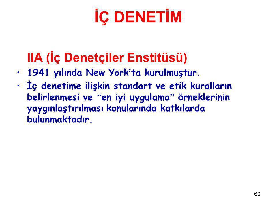 60 İÇ DENETİM IIA (İç Denetçiler Enstitüsü) 1941 yılında New York ' ta kurulmuştur.