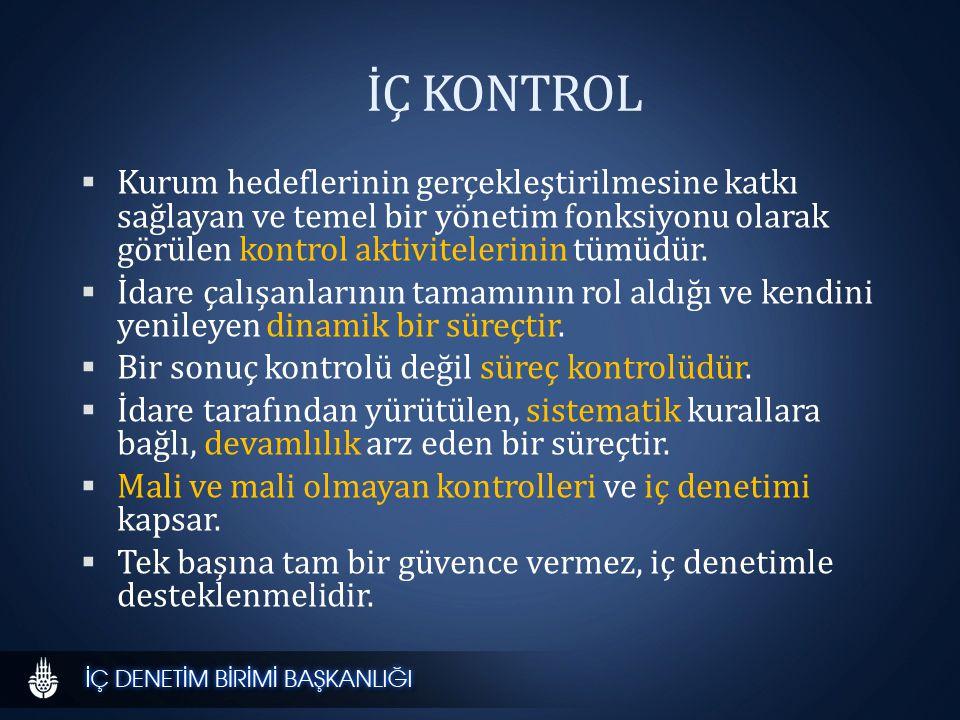İÇ KONTROL  Kurum hedeflerinin gerçekleştirilmesine katkı sağlayan ve temel bir yönetim fonksiyonu olarak görülen kontrol aktivitelerinin tümüdür.