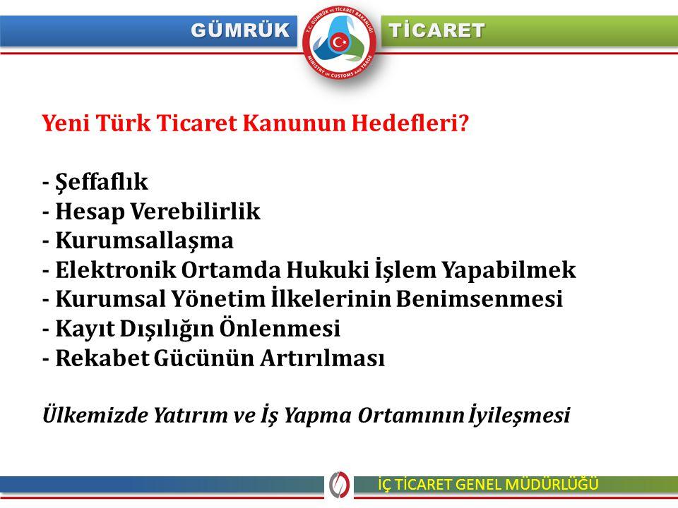 Yeni Türk Ticaret Kanunun Hedefleri? - Şeffaflık - Hesap Verebilirlik - Kurumsallaşma - Elektronik Ortamda Hukuki İşlem Yapabilmek - Kurumsal Yönetim
