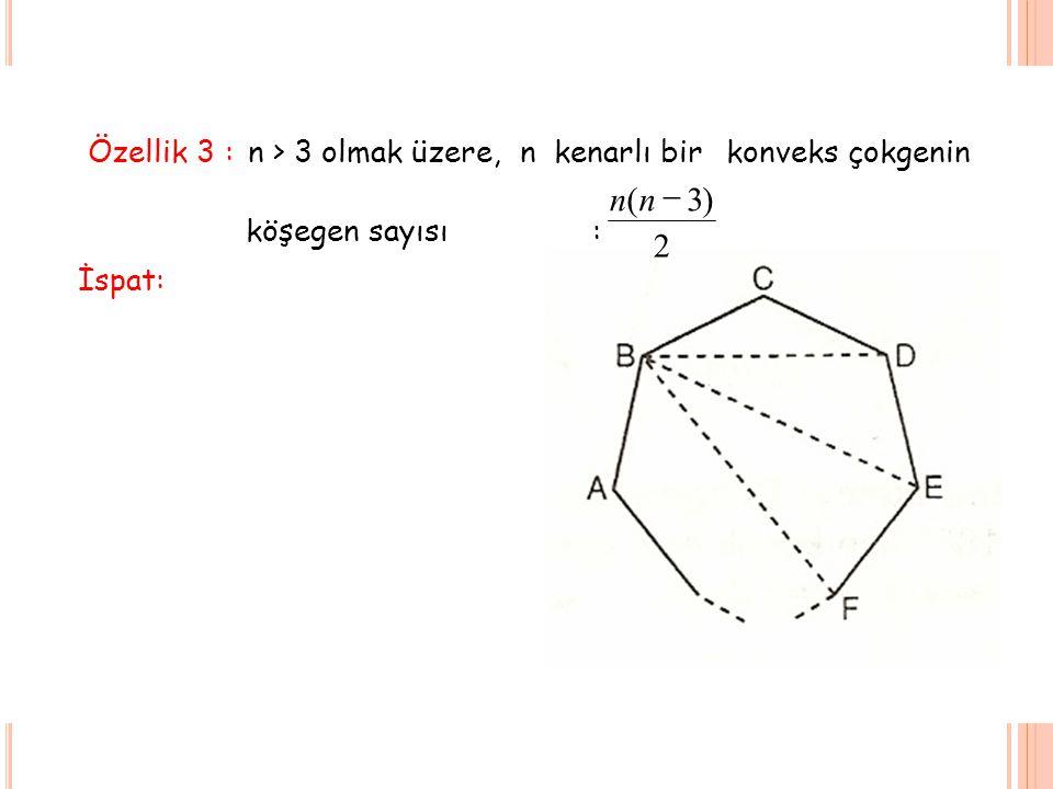 Özellik 3 :n > 3 olmak üzere, n kenarlı bir konveksçokgenin köşegen sayısı: 2 )3(  nn İspat: