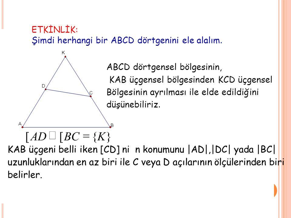ETKİNLİK: Şimdi herhangi bir ABCD dörtgenini ele alalım. K A B C D }{[[ KBCAD  ABCD dörtgensel bölgesinin, KAB üçgensel bölgesindenKCDüçgensel Bölge