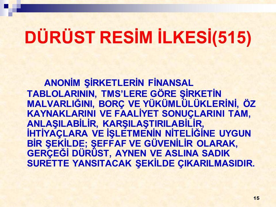 15 DÜRÜST RESİM İLKESİ(515) ANONİM ŞİRKETLERİN FİNANSAL TABLOLARININ, TMS'LERE GÖRE ŞİRKETİN MALVARLIĞINI, BORÇ VE YÜKÜMLÜLÜKLERİNİ, ÖZ KAYNAKLARINI VE FAALİYET SONUÇLARINI TAM, ANLAŞILABİLİR, KARŞILAŞTIRILABİLİR, İHTİYAÇLARA VE İŞLETMENİN NİTELİĞİNE UYGUN BİR ŞEKİLDE; ŞEFFAF VE GÜVENİLİR OLARAK, GERÇEĞİ DÜRÜST, AYNEN VE ASLINA SADIK SURETTE YANSITACAK ŞEKİLDE ÇIKARILMASIDIR.