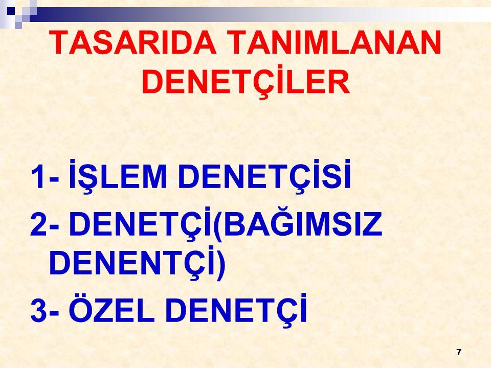 7 TASARIDA TANIMLANAN DENETÇİLER 1- İŞLEM DENETÇİSİ 2- DENETÇİ(BAĞIMSIZ DENENTÇİ) 3- ÖZEL DENETÇİ