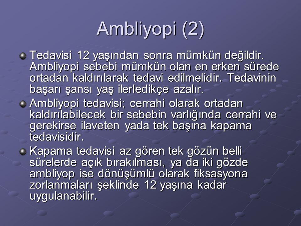 Ambliyopi (2) Tedavisi 12 yaşından sonra mümkün değildir.