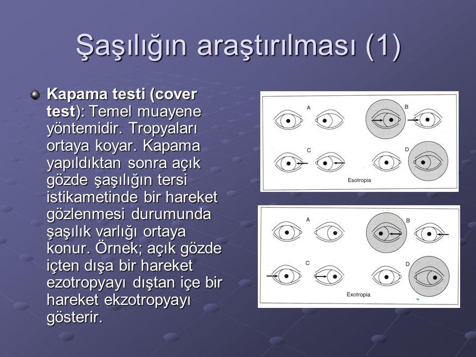 Şaşılığın araştırılması (1) Kapama testi (cover test): Temel muayene yöntemidir.