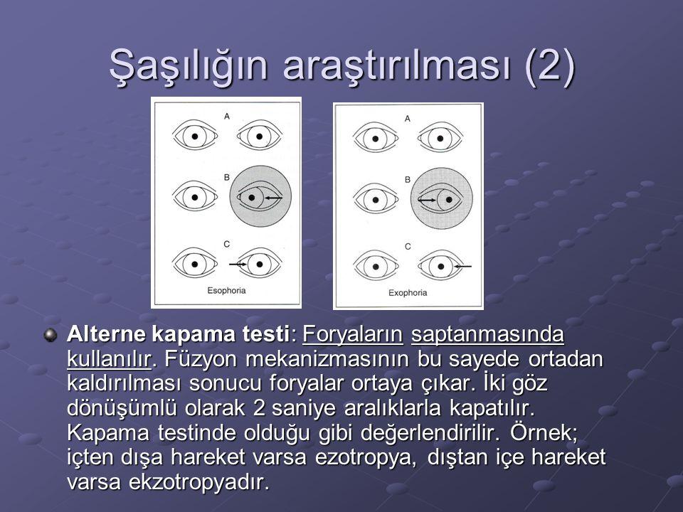 Şaşılığın araştırılması (2) Alterne kapama testi: Foryaların saptanmasında kullanılır.