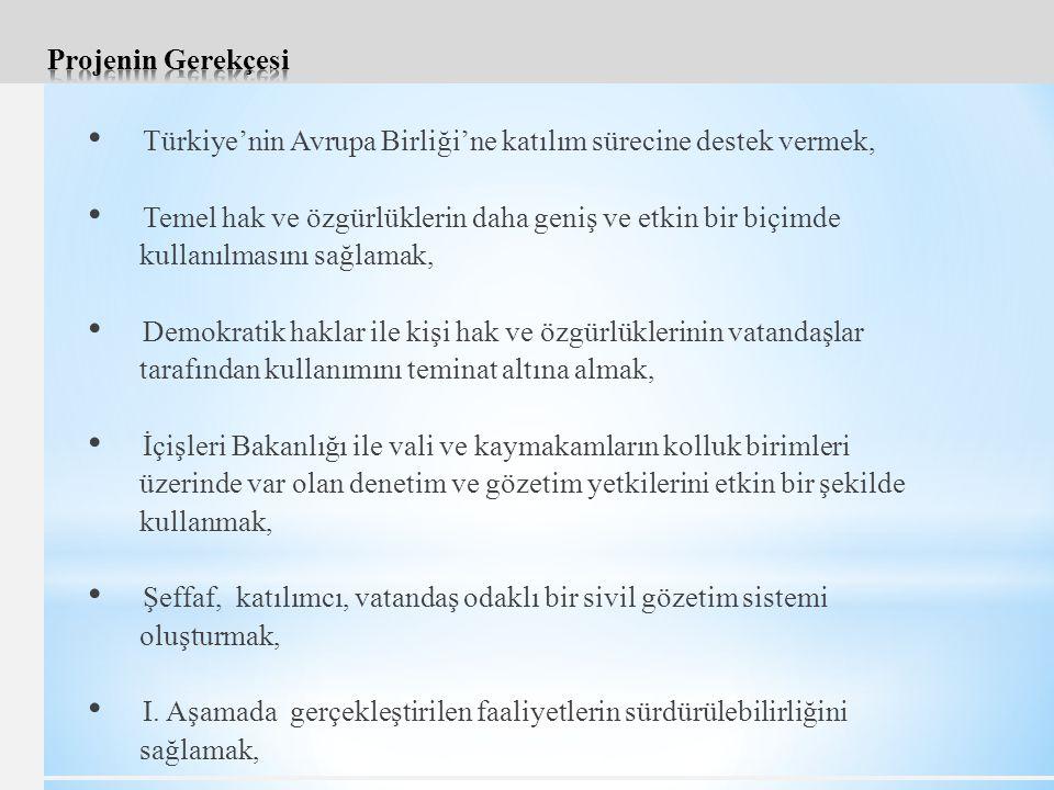 Türkiye'nin Avrupa Birliği'ne katılım sürecine destek vermek, Temel hak ve özgürlüklerin daha geniş ve etkin bir biçimde kullanılmasını sağlamak, Demokratik haklar ile kişi hak ve özgürlüklerinin vatandaşlar tarafından kullanımını teminat altına almak, İçişleri Bakanlığı ile vali ve kaymakamların kolluk birimleri üzerinde var olan denetim ve gözetim yetkilerini etkin bir şekilde kullanmak, Şeffaf, katılımcı, vatandaş odaklı bir sivil gözetim sistemi oluşturmak, I.