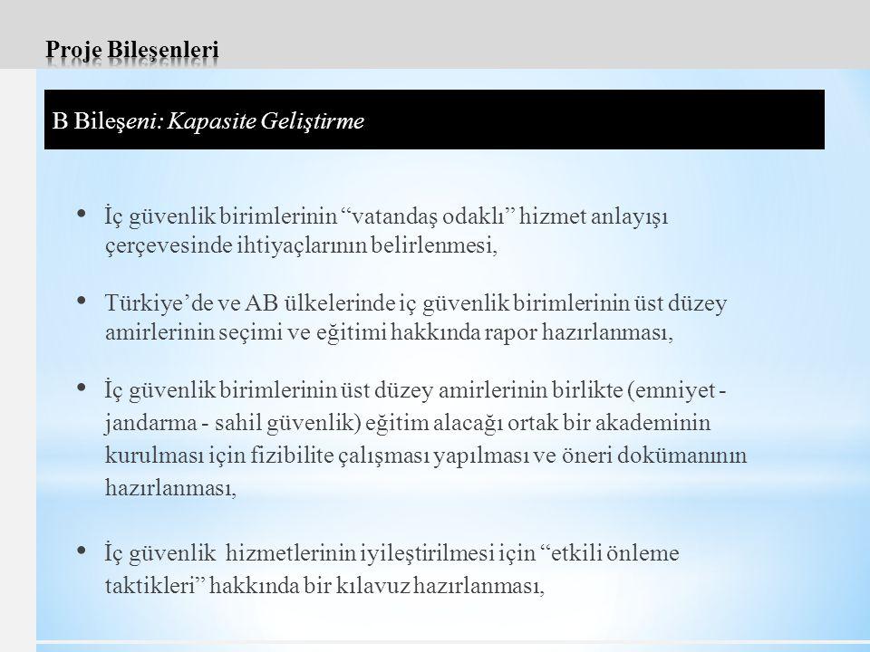 İç güvenlik birimlerinin vatandaş odaklı hizmet anlayışı çerçevesinde ihtiyaçlarının belirlenmesi, Türkiye'de ve AB ülkelerinde iç güvenlik birimlerinin üst düzey amirlerinin seçimi ve eğitimi hakkında rapor hazırlanması, İç güvenlik birimlerinin üst düzey amirlerinin birlikte (emniyet - jandarma - sahil güvenlik) eğitim alacağı ortak bir akademinin kurulması için fizibilite çalışması yapılması ve öneri dokümanının hazırlanması, İç güvenlik hizmetlerinin iyileştirilmesi için etkili önleme taktikleri hakkında bir kılavuz hazırlanması, B Bileşeni: Kapasite Geliştirme