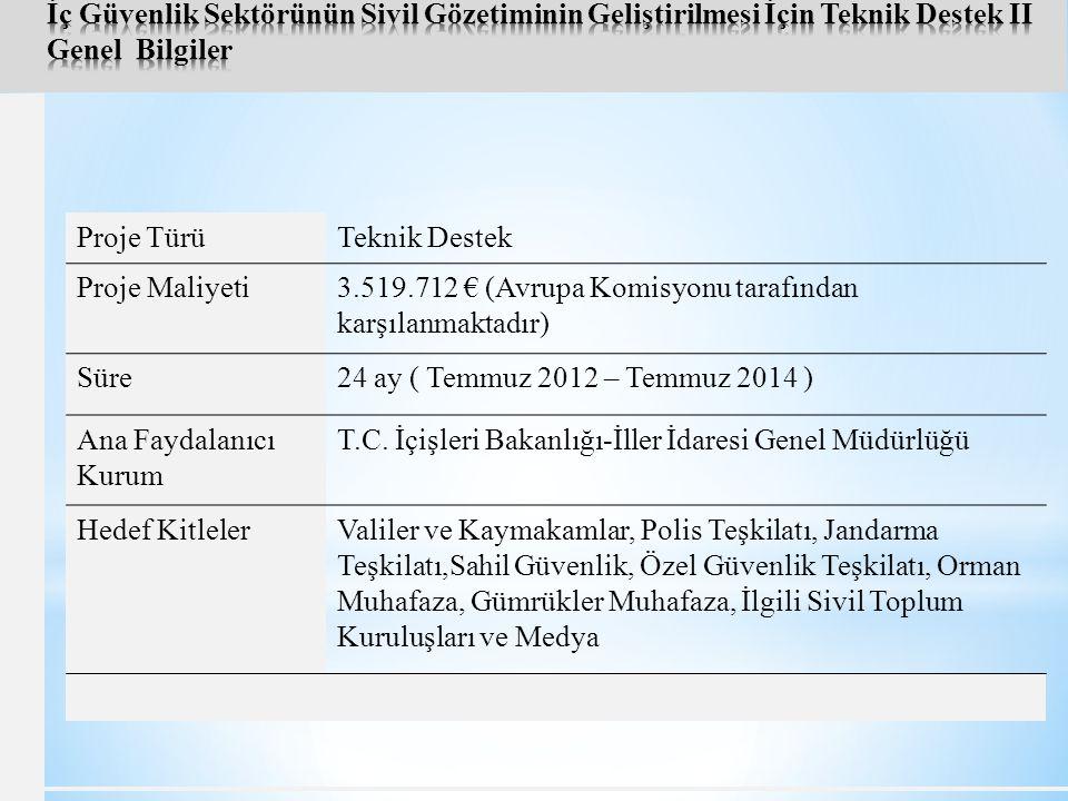 Proje TürüTeknik Destek Proje Maliyeti3.519.712 € (Avrupa Komisyonu tarafından karşılanmaktadır) Süre24 ay ( Temmuz 2012 – Temmuz 2014 ) Ana Faydalanıcı Kurum T.C.