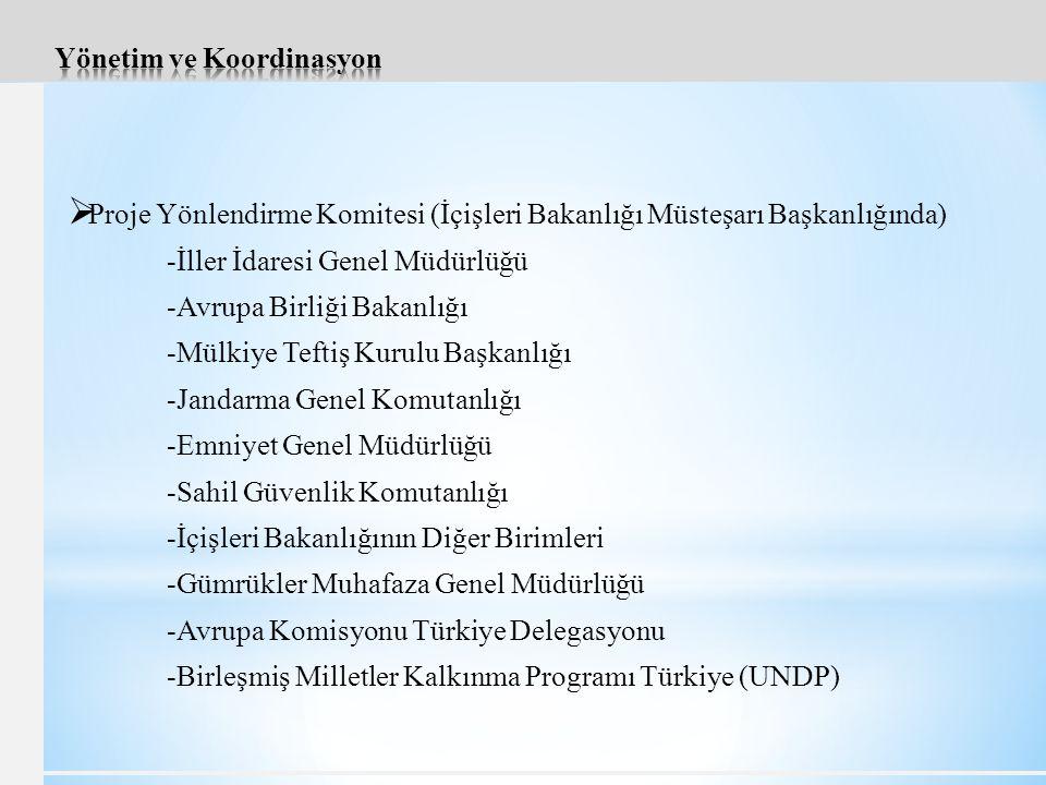  Proje Yönlendirme Komitesi (İçişleri Bakanlığı Müsteşarı Başkanlığında) -İller İdaresi Genel Müdürlüğü -Avrupa Birliği Bakanlığı -Mülkiye Teftiş Kurulu Başkanlığı -Jandarma Genel Komutanlığı -Emniyet Genel Müdürlüğü -Sahil Güvenlik Komutanlığı -İçişleri Bakanlığının Diğer Birimleri -Gümrükler Muhafaza Genel Müdürlüğü -Avrupa Komisyonu Türkiye Delegasyonu -Birleşmiş Milletler Kalkınma Programı Türkiye (UNDP)