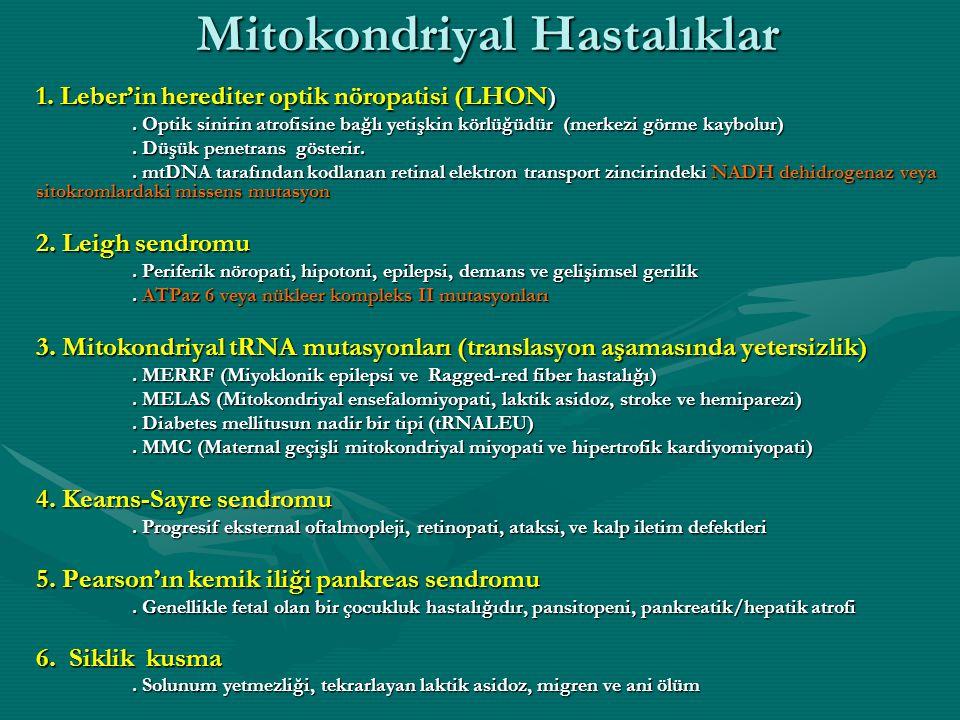 Mitokondriyal Hastalıklar 1.Leber'in herediter optik nöropatisi (LHON ).
