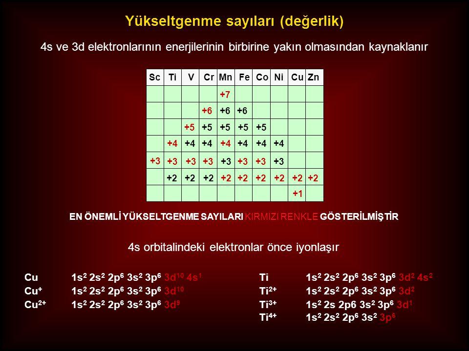 Yükseltgenme sayıları (değerlik) 4s ve 3d elektronlarının enerjilerinin birbirine yakın olmasından kaynaklanır 4s orbitalindeki elektronlar önce iyonl