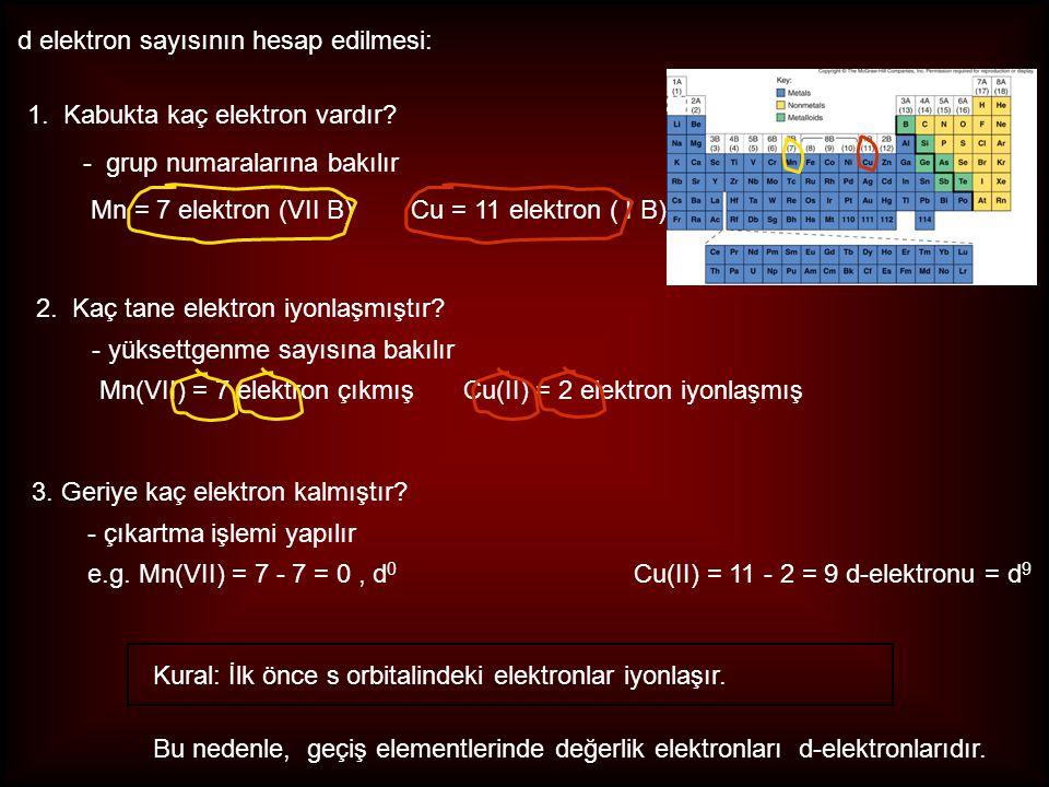 d elektron sayısının hesap edilmesi: Bu nedenle, geçiş elementlerinde değerlik elektronları d-elektronlarıdır. 1. Kabukta kaç elektron vardır? - grup
