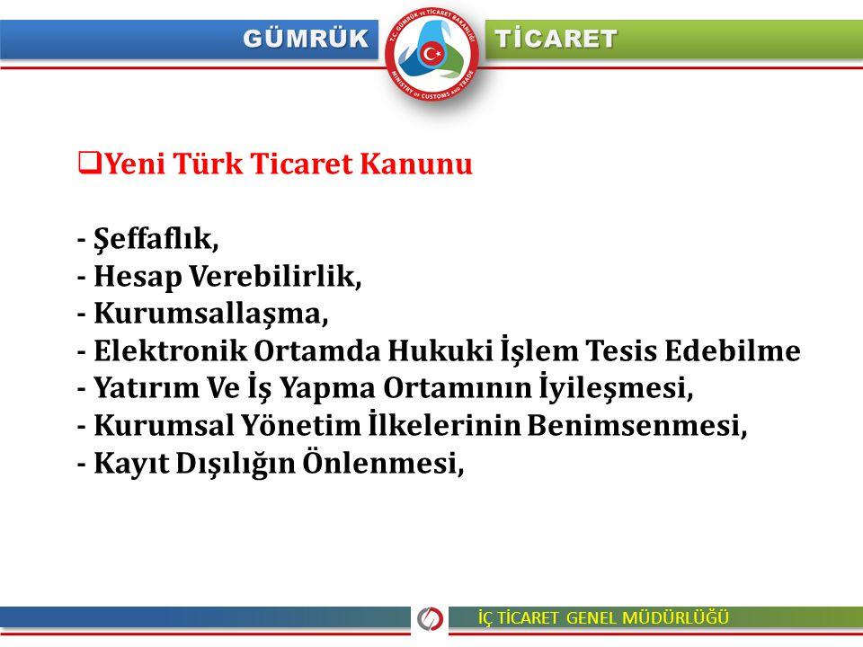  Yeni Türk Ticaret Kanunu - Şeffaflık, - Hesap Verebilirlik, - Kurumsallaşma, - Elektronik Ortamda Hukuki İşlem Tesis Edebilme - Yatırım Ve İş Yapma