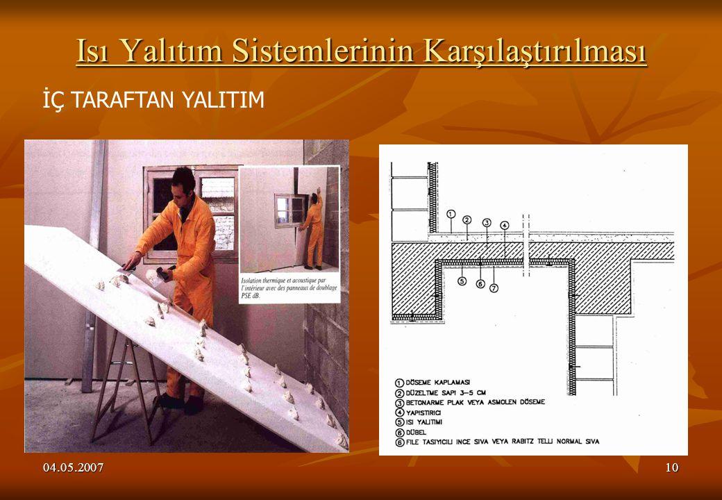 04.05.200710 Isı Yalıtım Sistemlerinin Karşılaştırılması İÇ TARAFTAN YALITIM