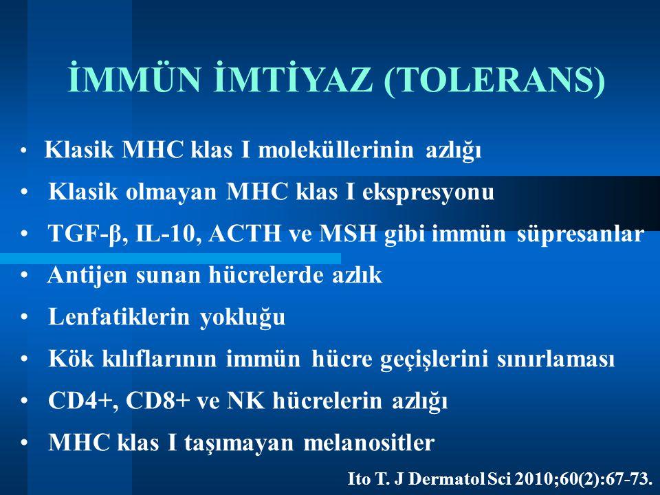 İMMÜN İMTİYAZ (TOLERANS) Klasik MHC klas I moleküllerinin azlığı Klasik olmayan MHC klas I ekspresyonu TGF-β, IL-10, ACTH ve MSH gibi immün süpresanla