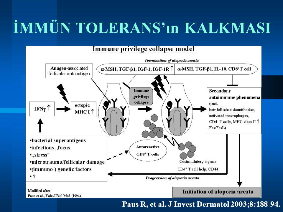 Paus R, et al. J Invest Dermatol 2003;8:188-94. İMMÜN TOLERANS'ın KALKMASI