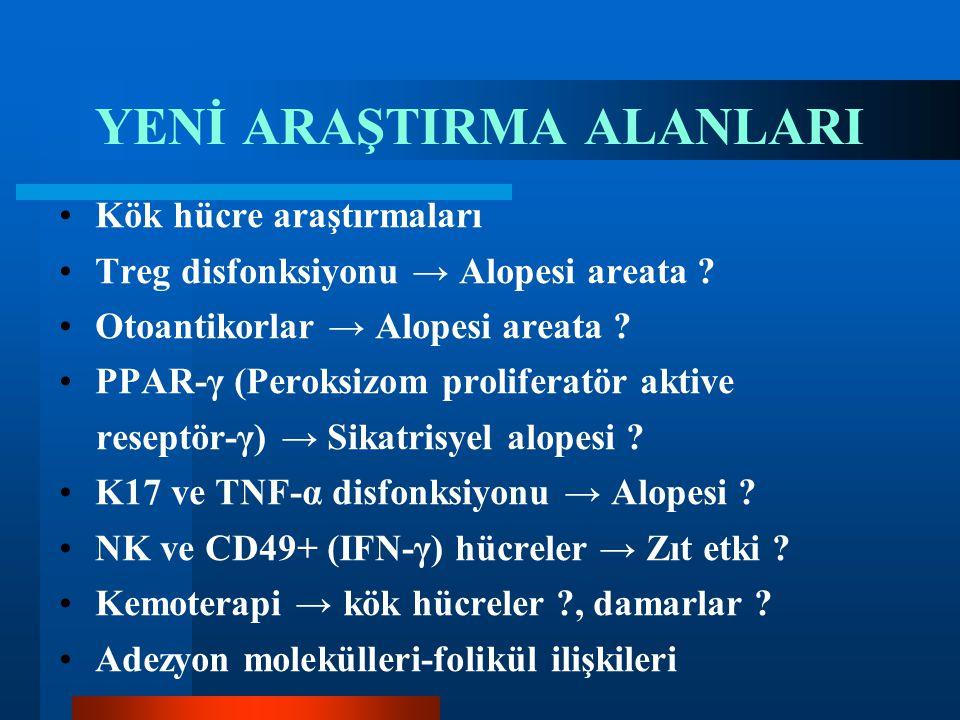 YENİ ARAŞTIRMA ALANLARI Kök hücre araştırmaları Treg disfonksiyonu → Alopesi areata ? Otoantikorlar → Alopesi areata ? PPAR-γ (Peroksizom proliferatör