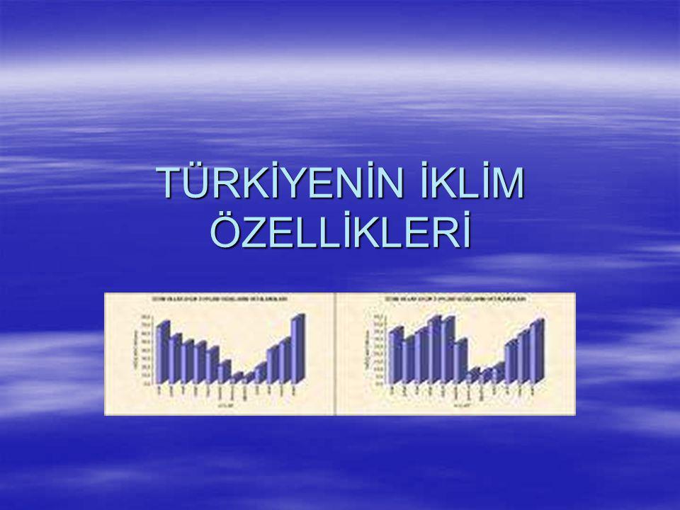  Türkiye'de Yağışın Dağılışı Türkiye'de genel olarak kıyı kesimler ve yüksek dağ yamaçları bol yağışlı denize kapalı iç kesimler ve çukur yerler az yağışlıdır.