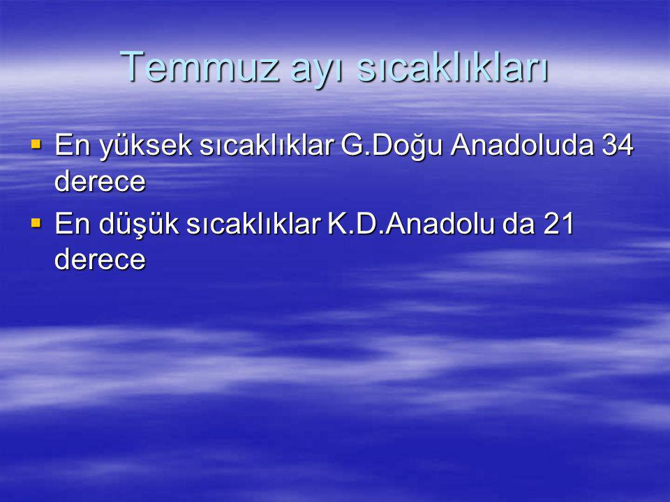 Temmuz ayı sıcaklıkları  En yüksek sıcaklıklar G.Doğu Anadoluda 34 derece  En düşük sıcaklıklar K.D.Anadolu da 21 derece