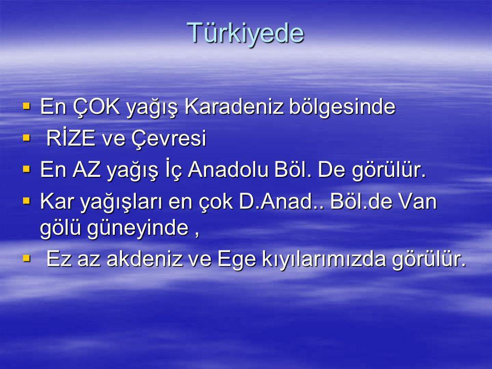 Türkiyede  En ÇOK yağış Karadeniz bölgesinde  RİZE ve Çevresi  En AZ yağış İç Anadolu Böl. De görülür.  Kar yağışları en çok D.Anad.. Böl.de Van g