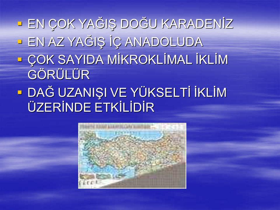TÜRKİYEDE İKLİM ELEMANLARI  A_SICAKLIK  Sıcaklık güneyden kuzeye azalır(Enlem)  Kıyıdan iç kesimler doru azalır(karasallık)  Doğuya doğru azalır(Yükselti)  En soğuk bölge D.Anadolu'dur.
