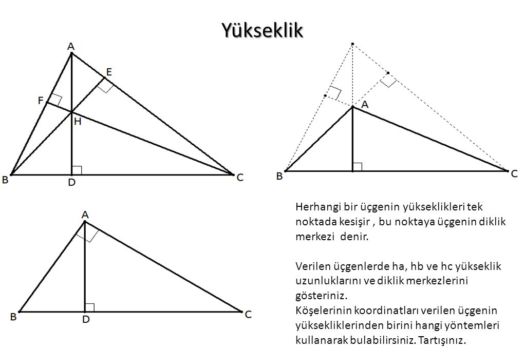 Yükseklik Herhangi bir üçgenin yükseklikleri tek noktada kesişir, bu noktaya üçgenin diklik merkezi denir. Verilen üçgenlerde ha, hb ve hc yükseklik u