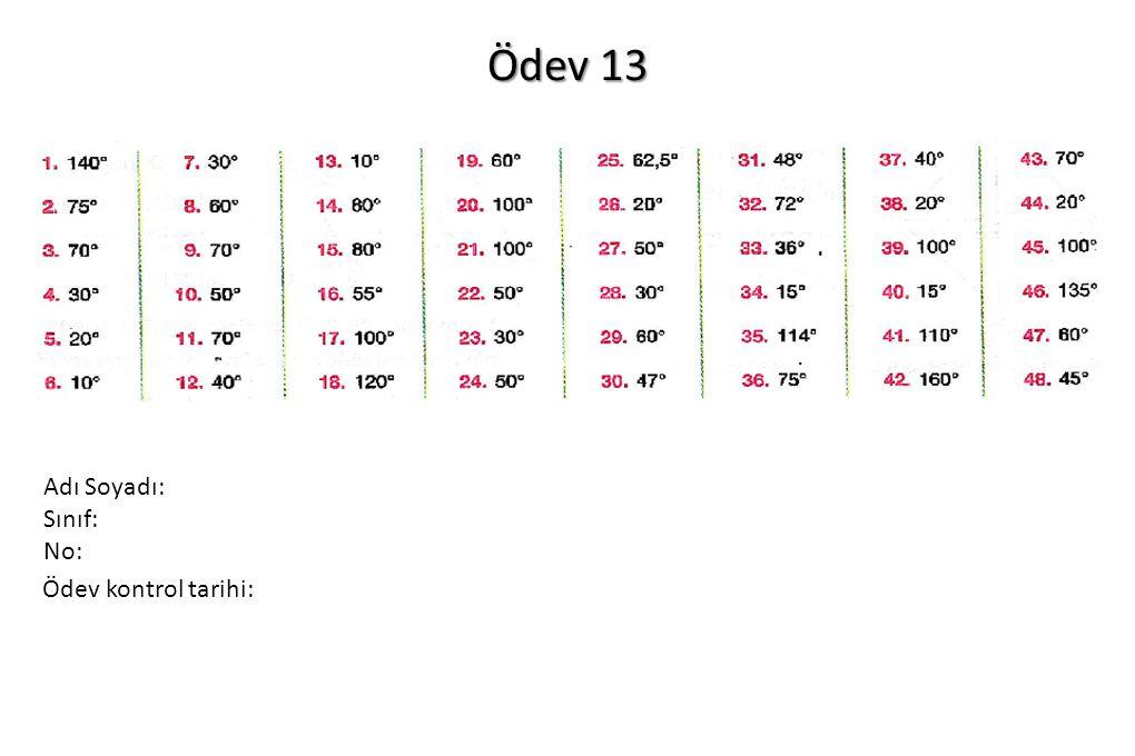 Ödev 13 Ödev kontrol tarihi: Adı Soyadı: Sınıf: No: