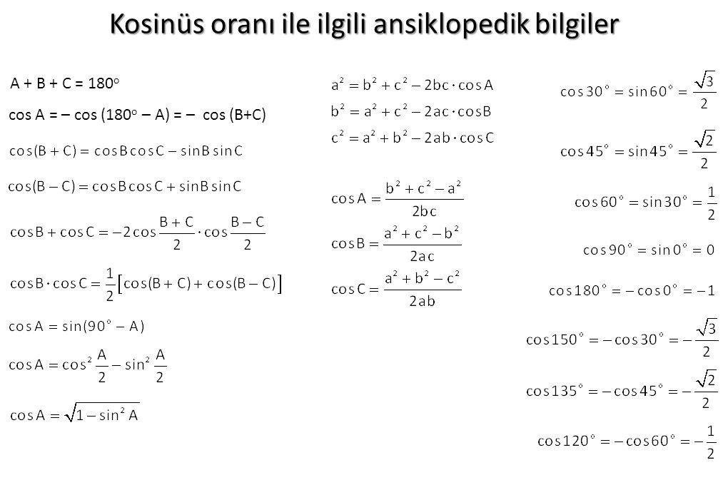 Kosinüs oranı ile ilgili ansiklopedik bilgiler cos A = – cos (180 o – A) = – cos (B+C) A + B + C = 180 o