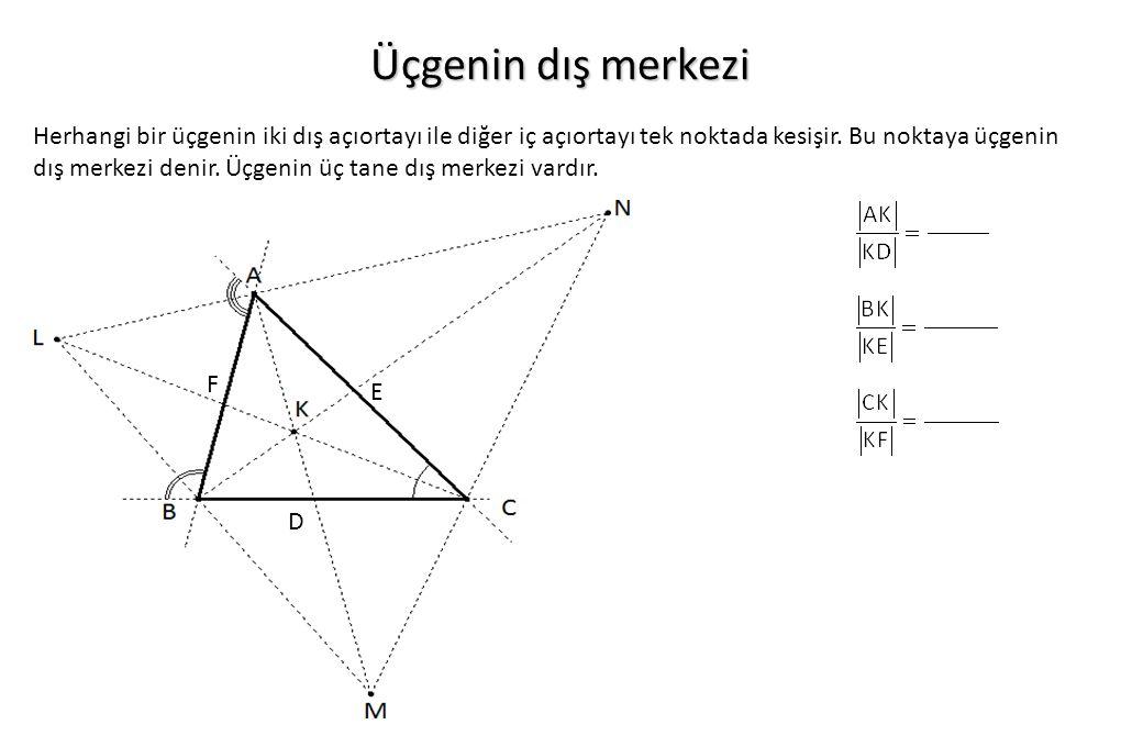 Üçgenin dış merkezi Herhangi bir üçgenin iki dış açıortayı ile diğer iç açıortayı tek noktada kesişir. Bu noktaya üçgenin dış merkezi denir. Üçgenin ü