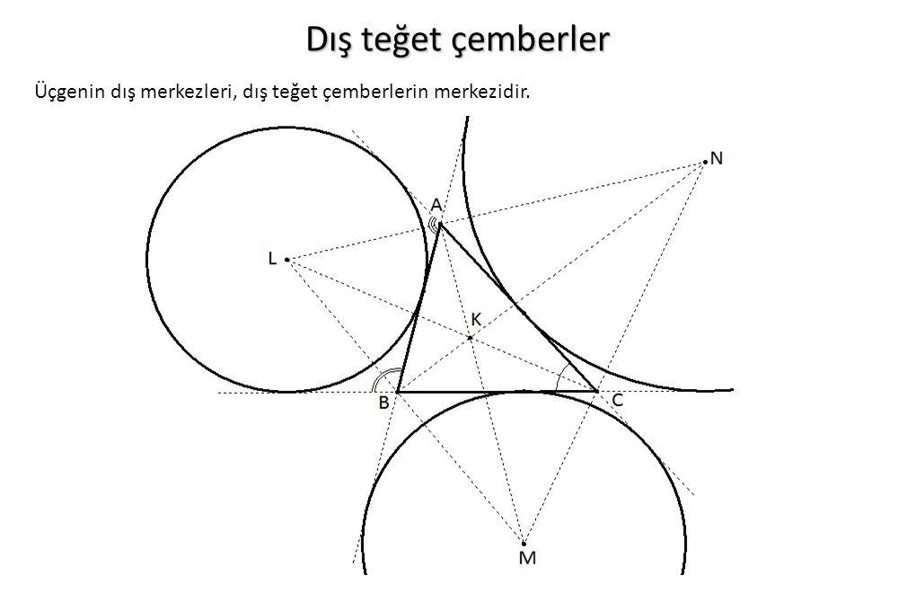 Dış teğet çemberler Üçgenin dış merkezleri, dış teğet çemberlerin merkezidir.