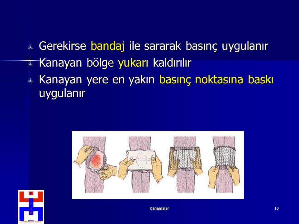 Kanamalar10 Gerekirse bandaj ile sararak basınç uygulanır Kanayan bölge yukarı kaldırılır Kanayan yere en yakın basınç noktasına baskı uygulanır
