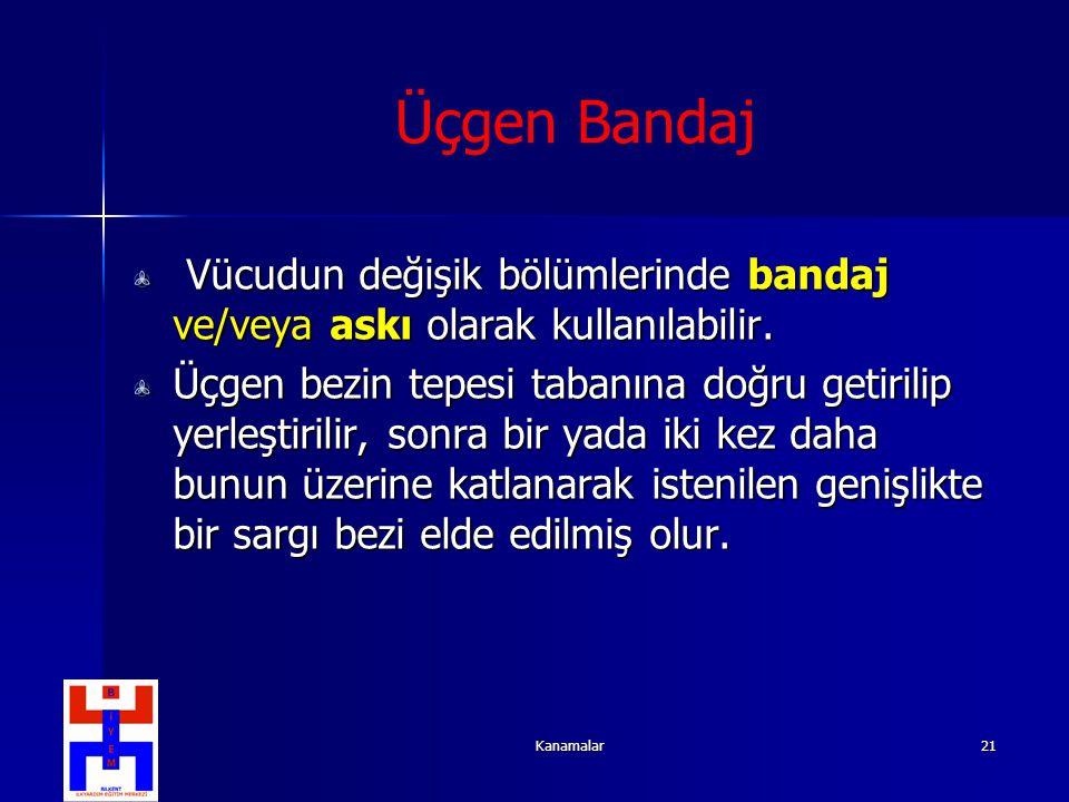 Kanamalar21 Üçgen Bandaj Vücudun değişik bölümlerinde bandaj ve/veya askı olarak kullanılabilir. Vücudun değişik bölümlerinde bandaj ve/veya askı olar