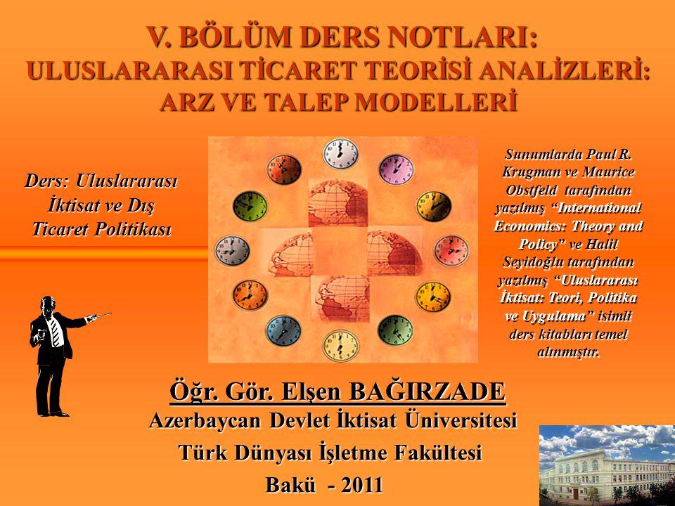 V. BÖLÜM DERS NOTLARI: V. BÖLÜM DERS NOTLARI: ULUSLARARASI TİCARET TEORİSİ ANALİZLERİ: ARZ VE TALEP MODELLERİ Öğr. Gör. Elşen BAĞIRZADE Azerbaycan Dev