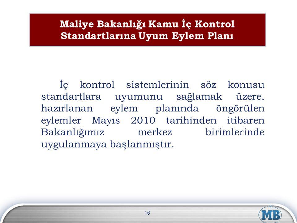 Maliye Bakanlığı Kamu İç Kontrol Standartlarına Uyum Eylem Planı İç kontrol sistemlerinin söz konusu standartlara uyumunu sağlamak üzere, hazırlanan e