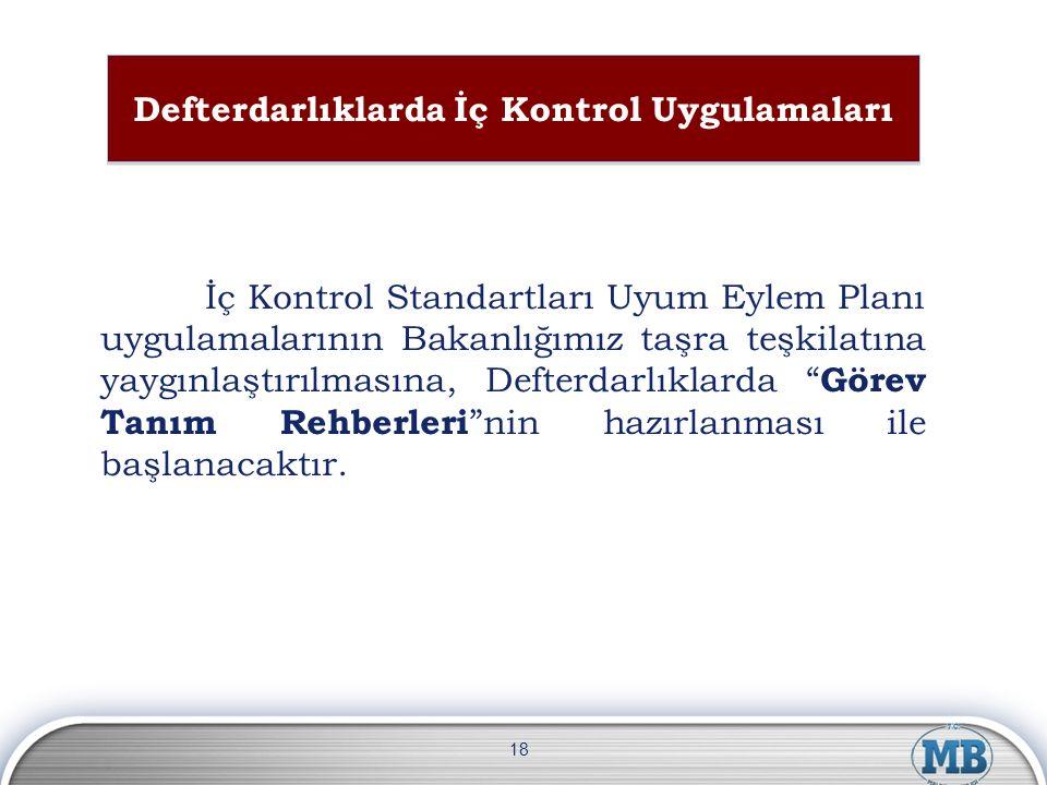 Defterdarlıklarda İç Kontrol Uygulamaları İç Kontrol Standartları Uyum Eylem Planı uygulamalarının Bakanlığımız taşra teşkilatına yaygınlaştırılmasına
